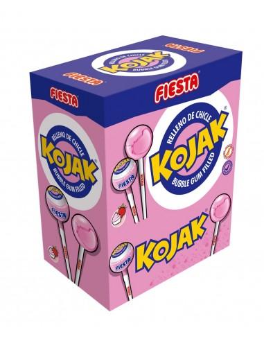 FIESTA Kojak Caramelo con Palo Sabor Helado de Fresa Relleno de Chicle