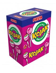 FIESTA Kojak Caramelo con Palo Sabor Sandía Relleno de Chicle