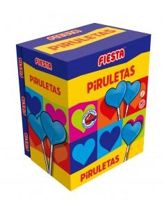 FIESTA Piruletas Pintalenguas Caramelo con Palo en Forma de Corazón Sabor Mora