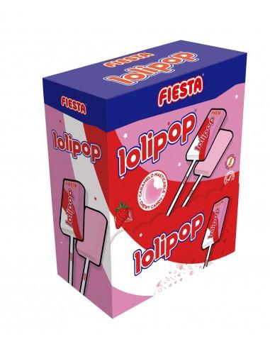 FIESTA Lolipop Caramelo Masticable con Palo Sabor Fresa