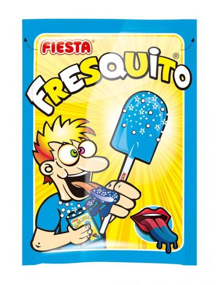 FIESTA Fresquito Pintalenguas Caramelo con Palo en Sobre con Polvo Acidulado Sabor Mora