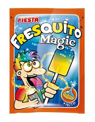 FIESTA Fresquito Magic Caramelo con Palo en Sobre con Polvo Acidulado Sabor Mandarina y Fresa