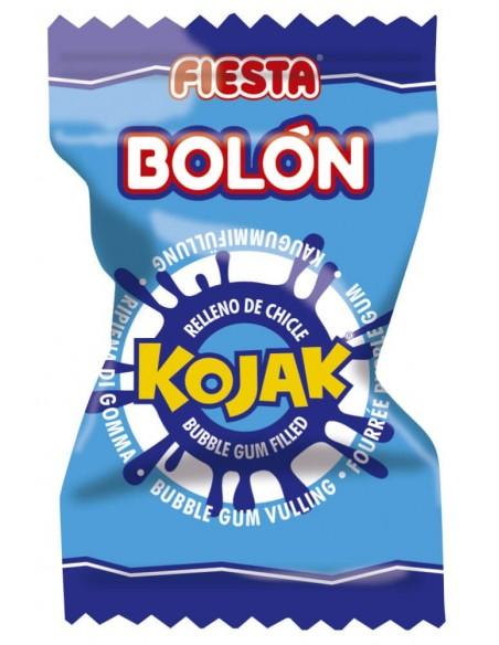 FIESTA Bolón Kojak Pintalenguas Caramelo Duro Sabor Mora Relleno de Chicle