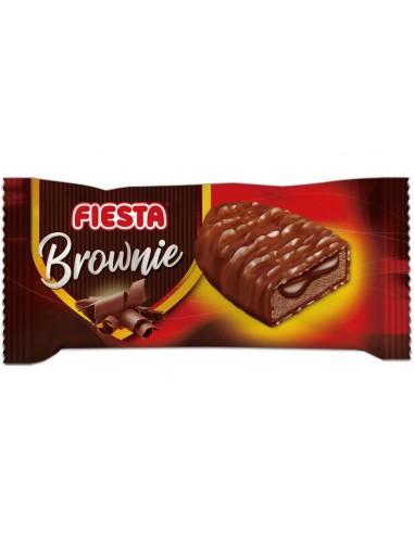 FIESTA Brownies Bizcocho recubierto de chocolate con leche y relleno de crema de cacao