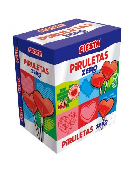 FIESTA Piruletas Zero Caramelo con Palo en Forma de Corazón Sabor Cereza
