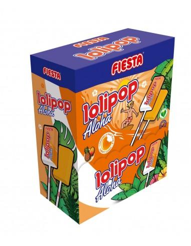 FIESTA Lolipop Aloha Caramelo Masticable con Palo Sabor Tropical