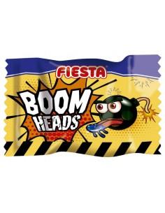 FIESTA Boom Heads Pintalenguas Caramelo Duro Sabor Fresa Ácida Relleno de Masticable de Fresa