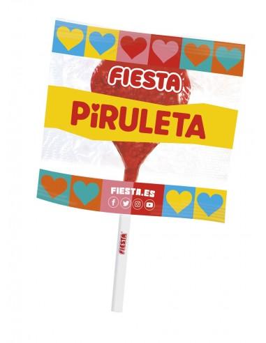FIESTA Mega Piruleta Estuche con Caramelo con Palo en Forma de Corazón Sabor Cereza