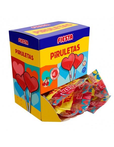 FIESTA Piruletas Caramelo con Palo en Forma de Corazón Sabor Cereza