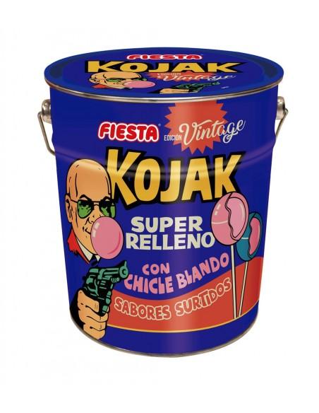 FIESTA Kojak Surtido Vintage Lata metálica con 150 unidades caramelos con palo rellenos de chicle. Sabores surtidos: cola